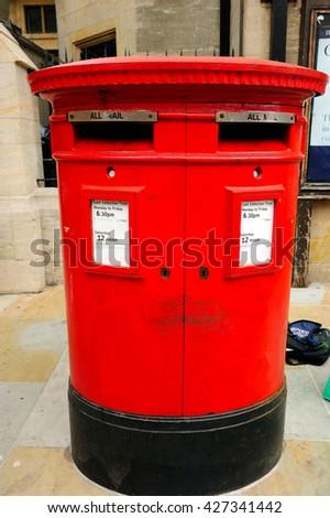 Post box in UK - stock photo