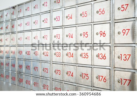 Post box locker with number - stock photo
