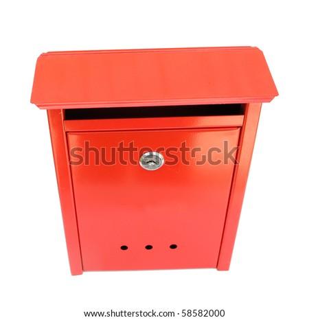 Post box metal vintage red - stock photo