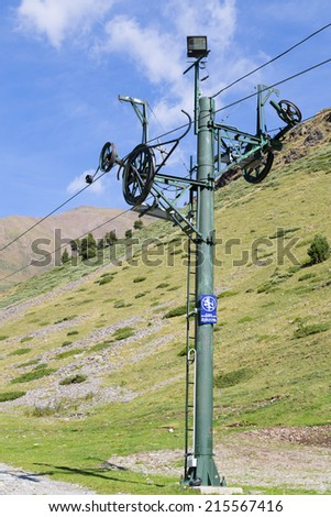 Post chairlifts in the Catalan Pyrenees - stock photo
