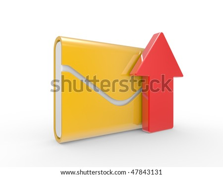 Post envelope and arrow on a white background - stock photo