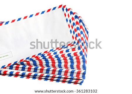 Post envelopes isolated on a white background  - stock photo