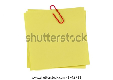 Post-It Note and Clip. Isolated on White with Clipping Path - stock photo