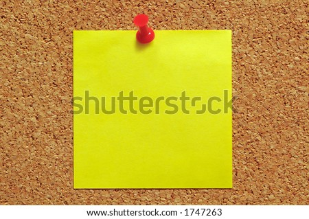 Post-It Note and Push Pin on Cork Noticeboard - stock photo