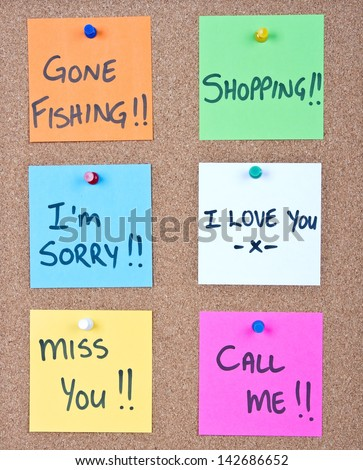 Post it note collage with many different messages - stock photo
