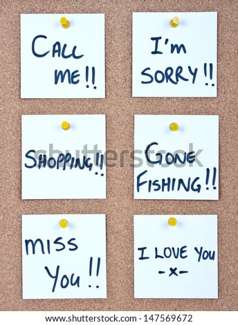 Post it note collage with many different messages white - stock photo