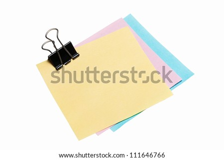 post-it note paper with binder clip isolated on white background - stock photo