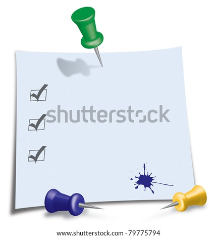 Post-It Note with green, blue and yellow Pin - stock photo