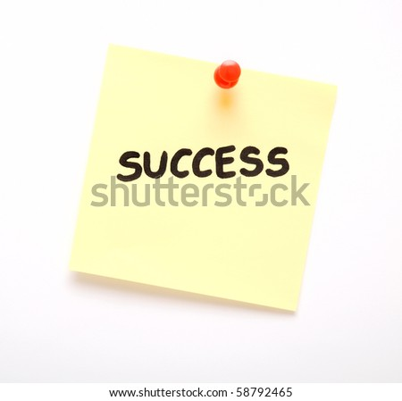 post-it note with handprinted success isolated - stock photo