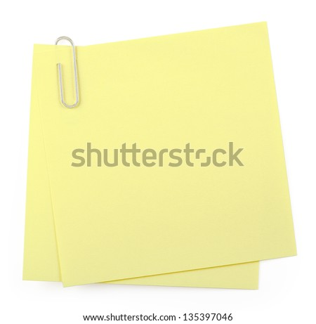 post it notes with paper clip on white - stock photo