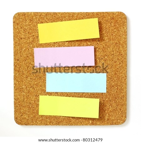 post-it on cork board - stock photo