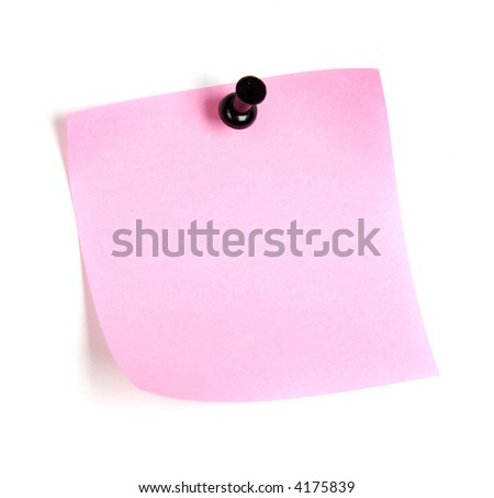 post-it reminder message, note blank with shadow pink - stock photo