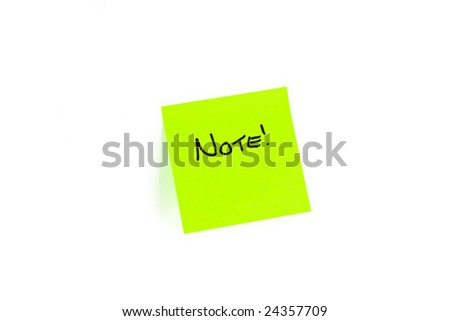 Post-it with the word NOTE! written on it. - stock photo