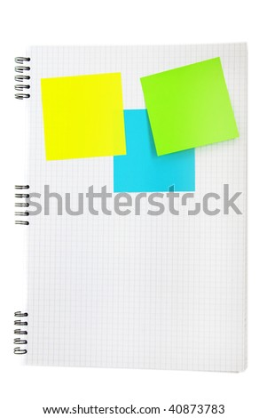 Post-its on the lined note book background - stock photo