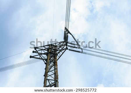 post junction of the high voltage electricity with sky background - stock photo