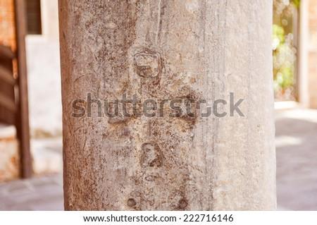 Post or pillar Venice (Venezia) in Italy - stock photo
