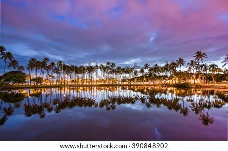 Post sunset from Ala Moana Beach Park west of Waikiki, Oahu, Hawaii. - stock photo