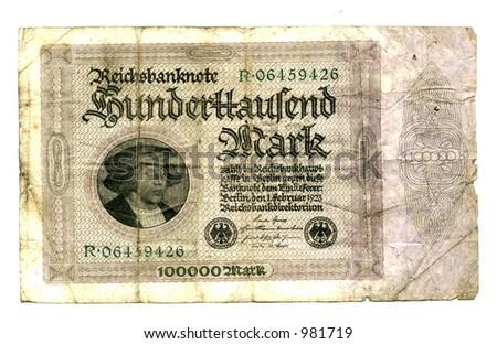 Post war 100000 reichsmark - stock photo