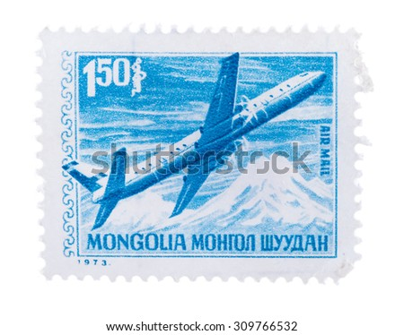 postage stamp 1973- AIR MAIL-Mongolia- Mongol shuudan - stock photo