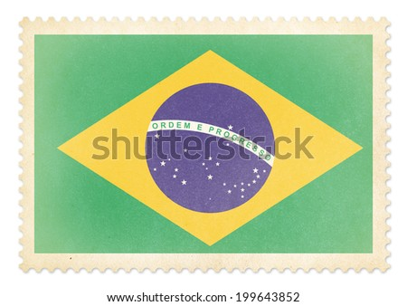 Postage stamp with flag of Brazil isolated. Clipping path is included. - stock photo