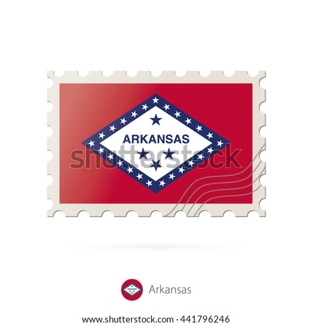Postage stamp with the image of Arkansas state flag. Arkansas Flag Postage on white background with shadow. Raster copy. - stock photo