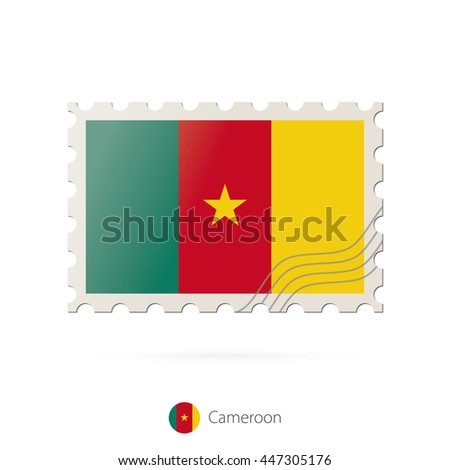 Postage stamp with the image of Cameroon flag. Raster copy.
