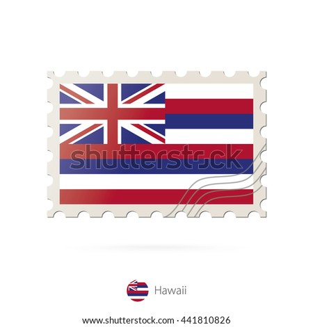 Postage stamp with the image of Hawaii state flag. Hawaii Flag Postage on white background with shadow. Raster copy.