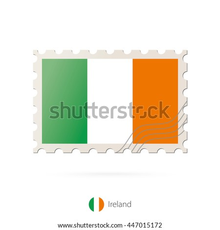 Postage stamp with the image of Ireland flag. Raster copy.