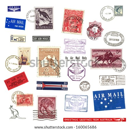 Postage stamps and labels from Australia - stock photo