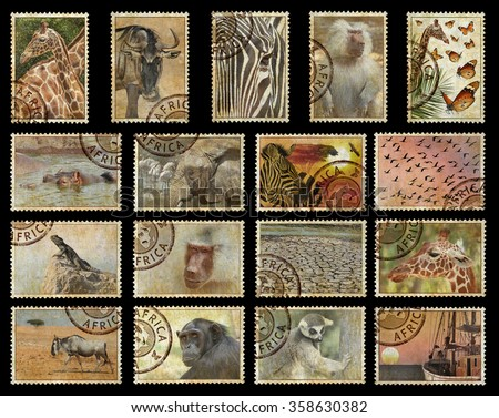 Postage stamps with Africa animals and nature symbols. Vintage style. Africa protect wild life concept. Isolated on a black background - stock photo