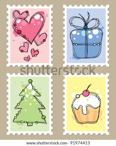postage stamps with cute drawings on beige background - stock photo