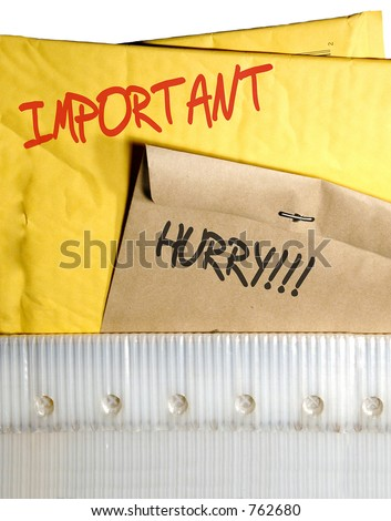 Postal case with envelopes in a rush - stock photo