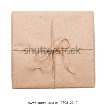 Postal parcel on a white background - stock photo