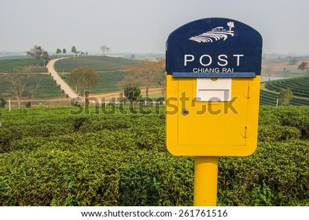 Postbox at Choui Fong Tea Plantation ,Chiangrai Thailand. - stock photo