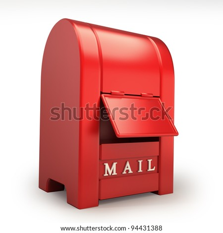 Postbox isolated on white background  3d illustration - stock photo