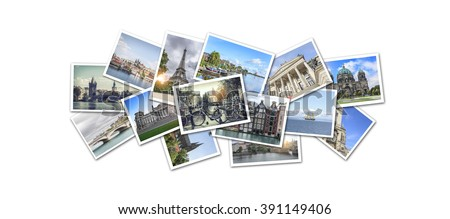 Postcard collage from Europe. Prague, Amsterdam, Paris, Berlin. The main attractions. - stock photo