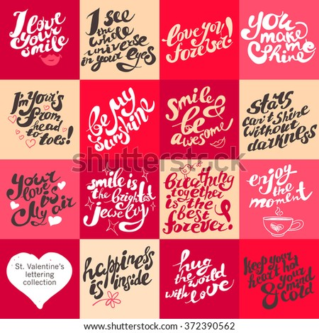 Postcard design template with lettering. St. Valentine's day congratulations. Hand drawn invitation, card, flyer, leaflet sample. Cute and warm regards. - stock photo