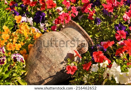 Postcard from Samos, Greece. Old amphora and colourful pansies - stock photo