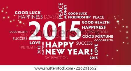 Postcard happy new Year 2015 - stock photo