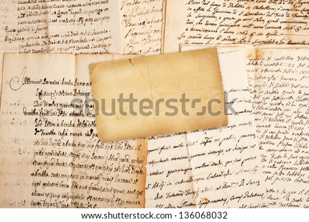 Postcard manuscripts of the 1700/1800 century - stock photo