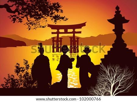 Postcard sights of Japan - stock photo