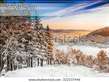 postcard with beautiful winter landscape from a mountain top - stock photo