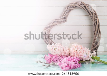 Postcard with fresh hyacinths  and  heart in ray of light on  wooden  background. Selective focus. Place for text.  - stock photo