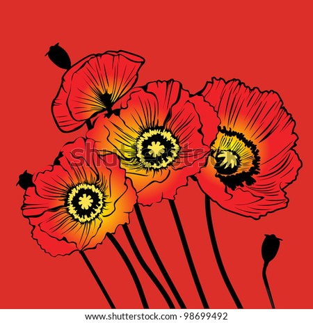 postcard with red poppies on a red background - stock photo