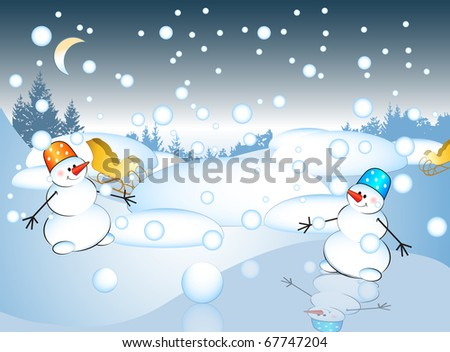 Postcard with snowman. Winter landscape background