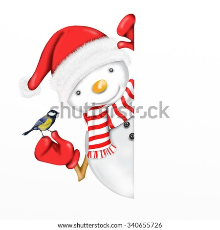 postcard with snowman with little bird