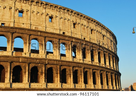 Postcards of Rome - Colosseum - Italy 015 - A striking image of the Colosseum of Rome at dawn - stock photo