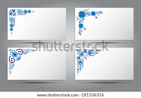 Postcards of traditional folk patterns (Vector version is also available in my portfolio, ID 126267287) - stock photo