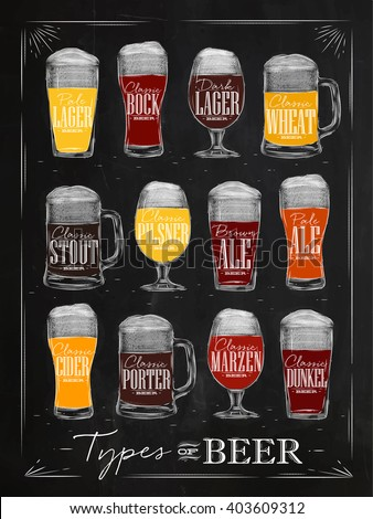Poster beer types with main types of beer pale lager, bock, dark lager, wheat, stout, pilsner, brown ale, pale ale, cider, porter, marzen, dunkel drawing with chalk in vintage style on chalkboard. - stock photo