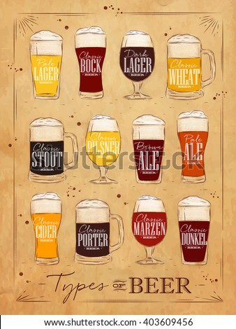 Poster beer types with main types of beer pale lager, bock, dark lager, wheat, stout, pilsner, brown ale, pale ale, cider, porter, marzen, dunkel drawing in vintage style on kraft background - stock photo
